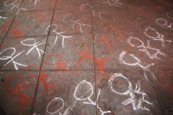 Hundreds of chalk children were drawn in memoriam to those killed in Operation Protective Edge, the Israeli invasion of the Gaza Strip. Photo by Joe Rivano Barros.