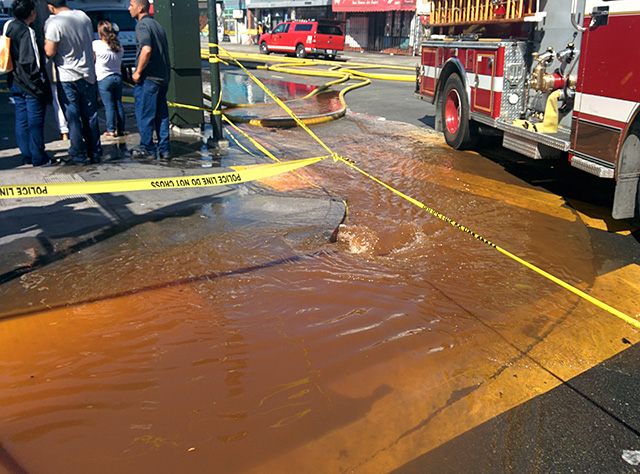 Water from the firefighters hoses on Mission Street and 23rd. At around 3:40p.m. Photo by Laura Wenus