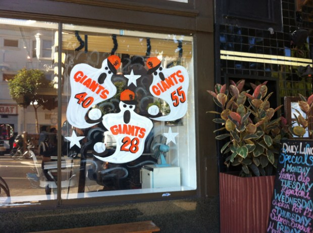 Giants are everywhere in the Mission. Here, the players are depicted as ghosts pairing the World Series with the Day of the dead.