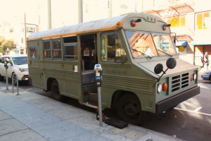 The bus and home of the three documentarians of Republic of Light. Photo by Daniel Hirsch.