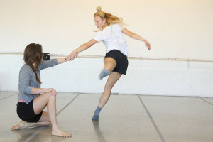 "Dancers rehearse Kristin Damrow's piece, ""Rocks In Her Knees."""