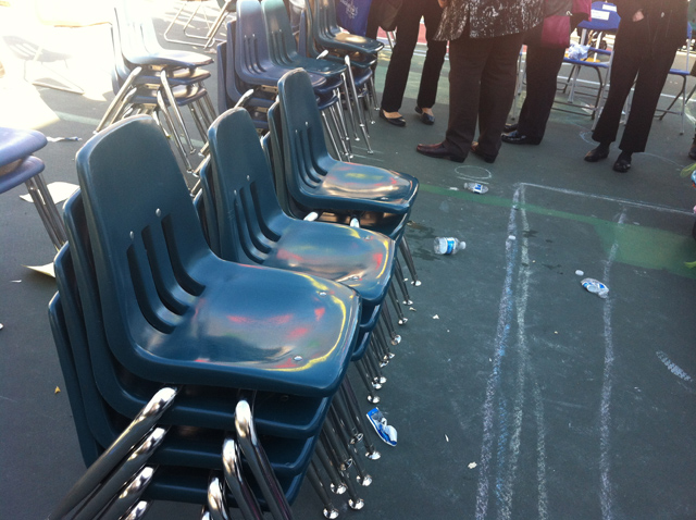 At the end of the celebration, all students helped out teachers to stack the chairs. Photo by Andrea Valencia