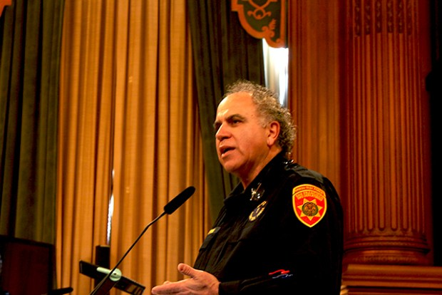 Captain John Darmanin of the Arson Task Force addresses questions from supervisors about fire frequency and causes. Photo by Laura Wenus