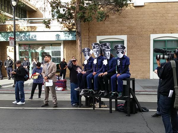 """Protesters hold a mock trial of the """"officers"""" involved in Alex Nieto's shooting. Photo by Dan Hirsch"""