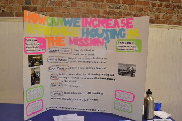 John O'Connell High School students  presentation on affordable housing in the Mission.
