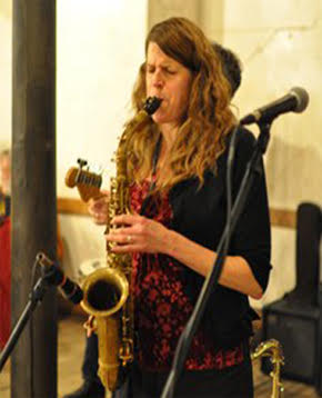 Connie Walkershaw, sax player for The Mission 7. Photo courtesy of The Mission 7.