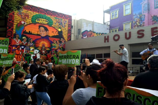 "The ""Chata"" mural, in memory of KPOO radio host Micaela ""Chata"" Gutierrez, faces west at the corner of 24th and South Van Ness streets. Photo by Laura Waxmann"