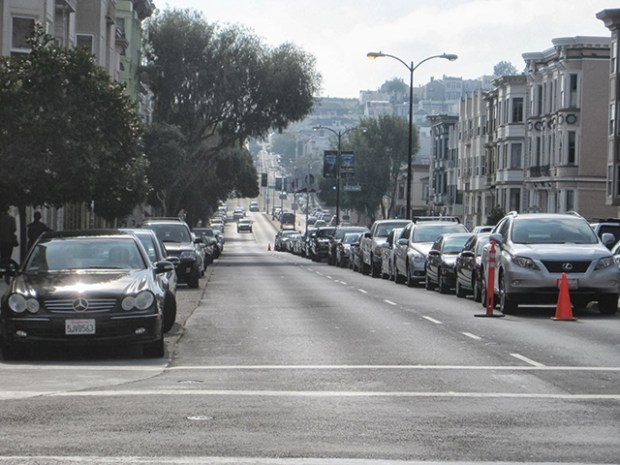 Median parking. Photo via the SFMTA.