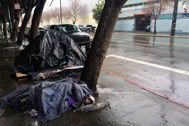 The homeless encampment at 16th and Harrison Streets where Allison Sparrow lived. The woman was murdered on Friday.  Photo by Laura Waxmann