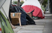 A homeless encampment on Folsom Street between 18th and 19th streets. Photo by Lola M. Chavez