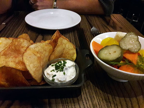 chips and pickled vegetables.