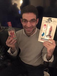 Scott Casper shows off his presents
