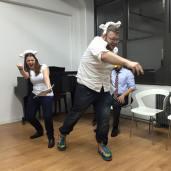 Colleen Wilson and Scott Pestronk play sheep in DUCK