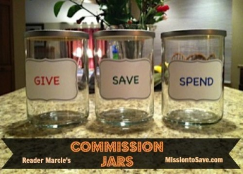 Repurposed Commission Jars! I love not spending any money, on the jars that teach your kids about spending theirs wisely! Thanks to reader Marcie for the idea!