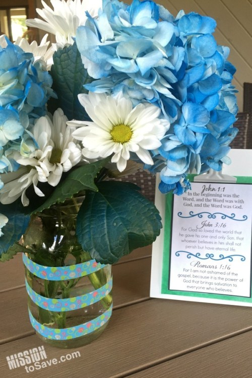 Use a repurposed jar for a vase. It's a beautiful way to recycle and add to your decor or celebration.