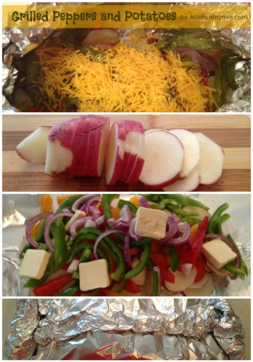peppers and potatoes in foil for on the grill