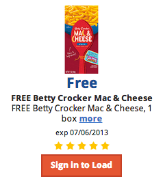 Free Betty Crocker Mac and Cheese at Kroger