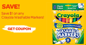 image regarding Crayola Printable Coupons titled Contemporary Crayola Washable Markers Printable Coupon + Ibotta Give