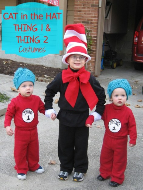 DIY Cat in the Hat and Thing 1 and Thing 2 Costumes