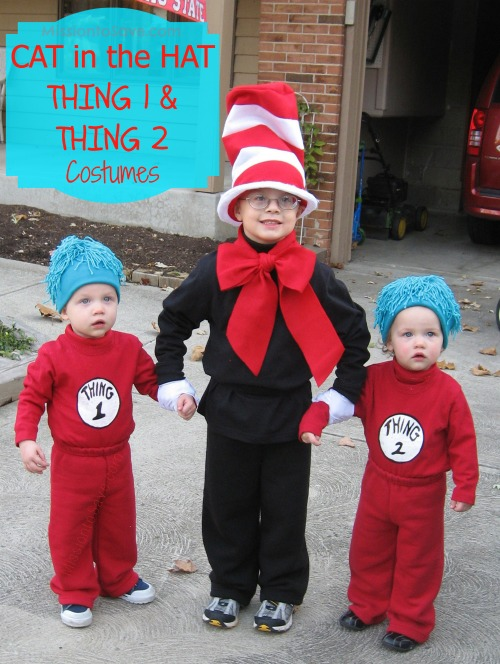 These DIY Cat in the Hat and Thing 1 and Thing 2 Costumes are great for Dr. Seuss Day or Halloween. Especially fun for a siblings costume theme.