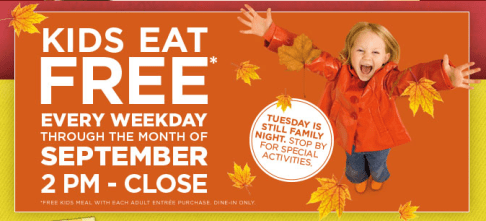bob evans kids eat free september