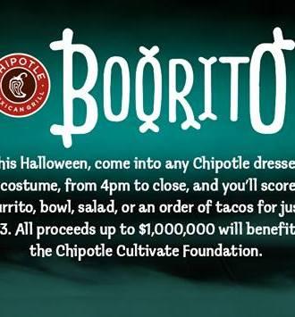 Halloween Chipotle Boorito $33 Deal