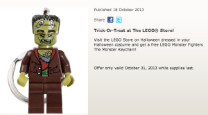 Free Lego Keychain on Halloween, see details on MissiontoSave.com