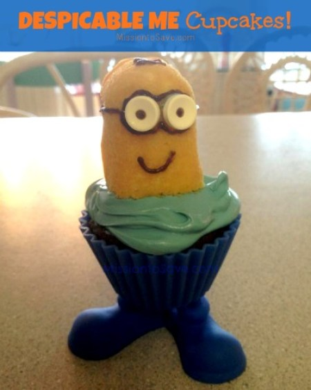 DIY despicable me cupcakes with how to directions on missiontosave.com