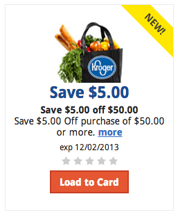 $5 off $50 Purchase Kroger Digital Coupon