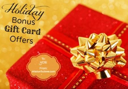 List of Holiday Gift Card Bonus Offers on MissiontoSave.com