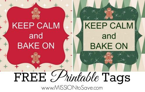 Keep Calm and Bake On Printable tags