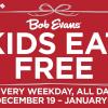 Kids Eat Free at Bob Evans- Every Weekday Through Jan 1!