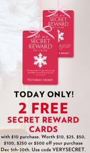 Bonus Victorias Secret Secret Rewards Cards