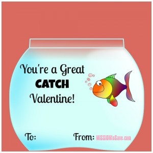 "DIY Valentine's Day Card - ""You're a Great Catch"" Goldfish Valentine (get free printable on missiontosave.com)"