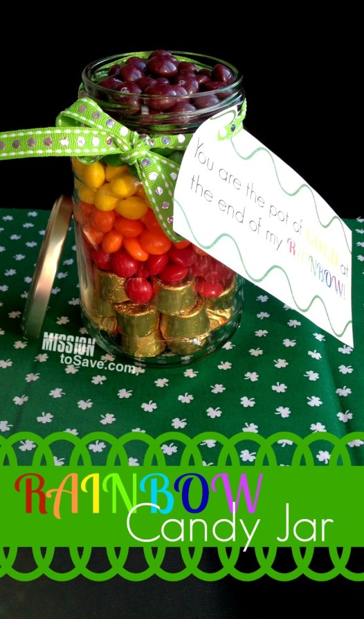 jar with rainbow and gold candy to look like pot of gold with printable gift tag family St. Patrick's Day