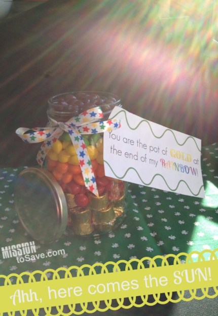 sunshine on jar of rainbow candy with pot of gold gift tag