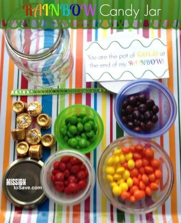 Print these (free) tags to make a cute Rainbow Candy Jar Gift