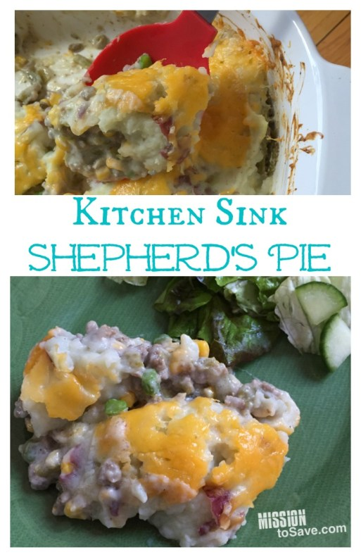 "This Kitchen Sink Shepherd's Pie Recipe is perfect comfort food and uses items in your pantry right now. Great for ""stockpile"" cooking, St. Patrick's Day or an easy weeknight meal."