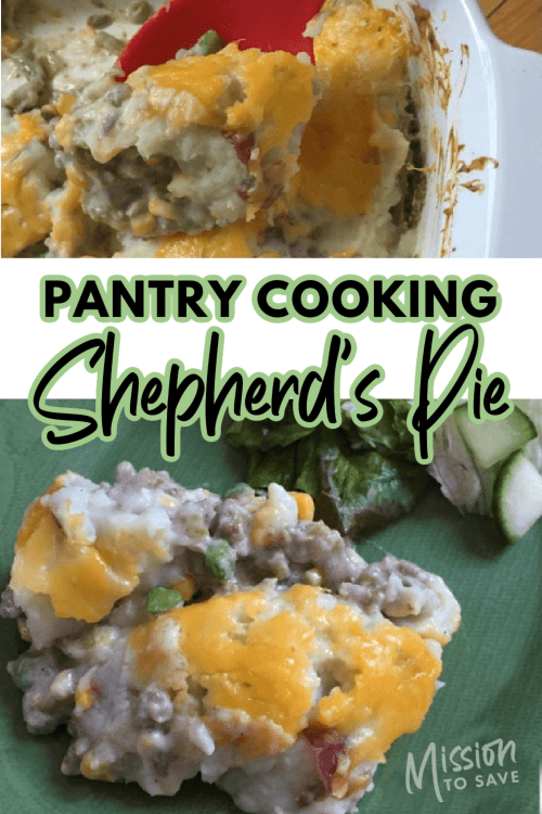 Shepherd's Pie on plate and text pantry cooking shepherd's pie