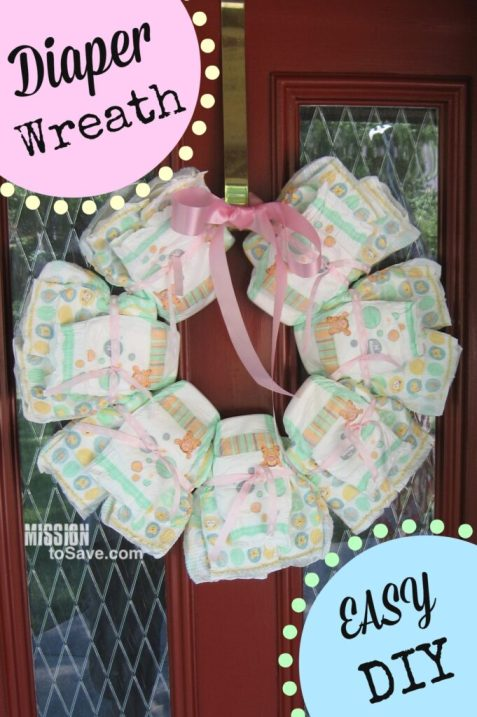 Diy Diaper Wreath To Welcome Baby Home Mission To Save