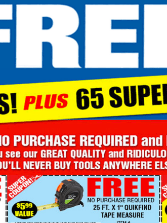 Freebies at Harbor Freight
