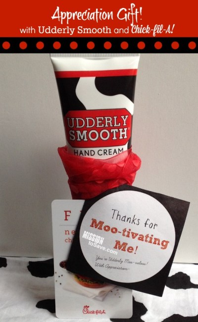 Appreciation Gift using Udderly Smooth and Chik-fil-A items. It's a Moo-velous gift idea for teachers, coaches and more.