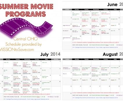 Printable Central Ohio Summer Movie Schedule