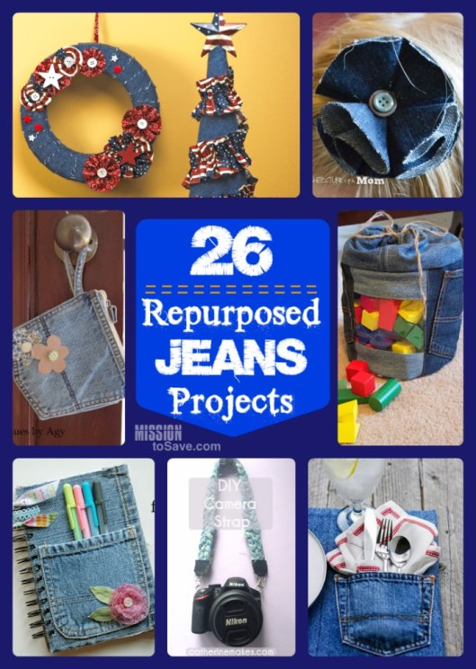 collage image of repurposed jeans projects