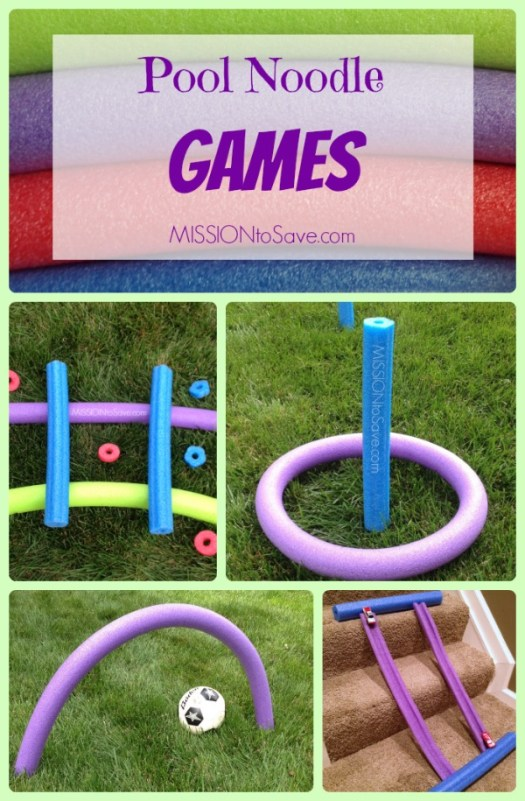 Fun, Easy, DIY Pool Noodle Games- no water needed! Check out these fun alternative used for pool noodles!