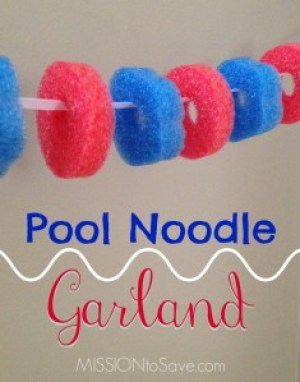 See how to make easy DIY Pool Noodle Garland for party and holiday decorations.
