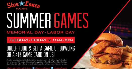 Star Lanes Summer Games Promo + Polaris Gift Card Giveaway