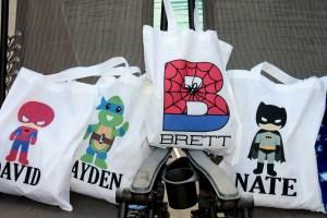 Personalized superhero bags