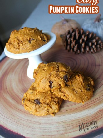 pumpkin cookies on fall wood tray