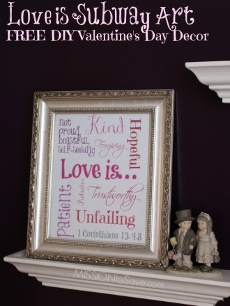 Easy DIY Valentine's Day Decor with FREE Printable Love is Subway Art. Use an existing frame for a FREE holiday update!